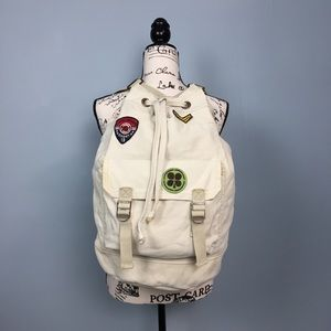 Vintage Lucky Brand Canvas Backpack Patches Bag